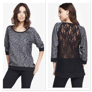 Express oversized sweatshirt tunic with lace back